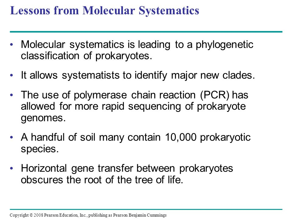Copyright © 2008 Pearson Education, Inc., publishing as Pearson Benjamin Cummings Lessons from Molecular Systematics Molecular systematics is leading to a phylogenetic classification of prokaryotes.