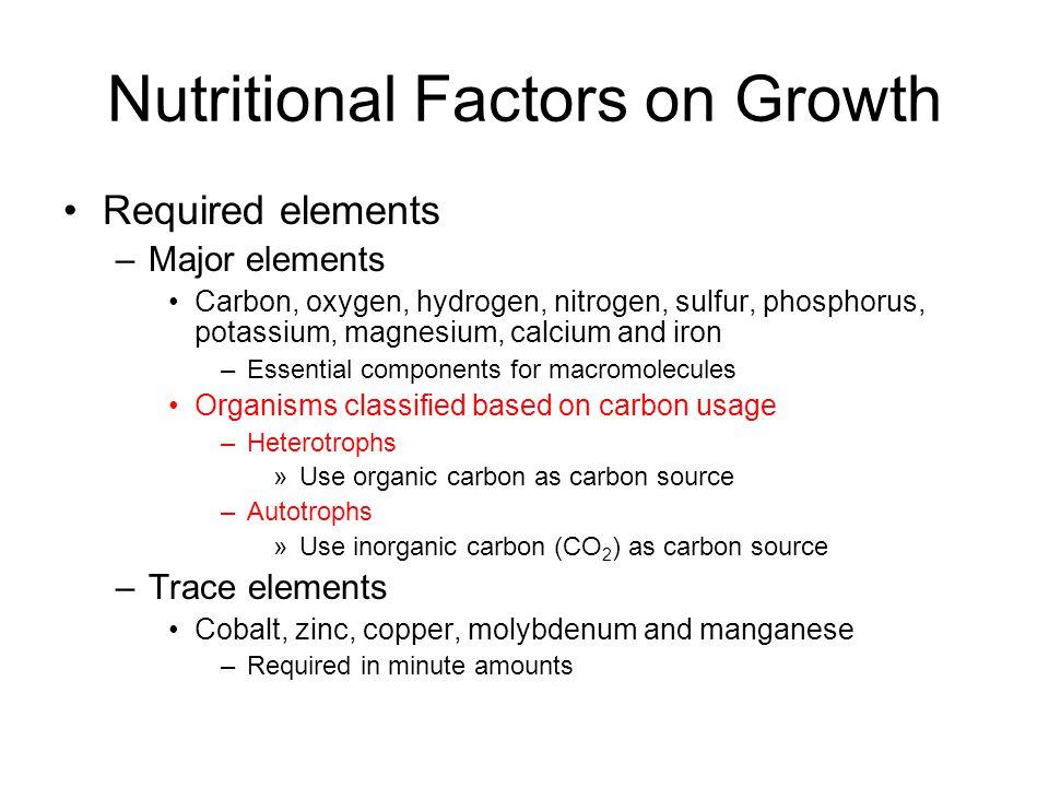 Required elements –Major elements Carbon, oxygen, hydrogen, nitrogen, sulfur, phosphorus, potassium, magnesium, calcium and iron –Essential components