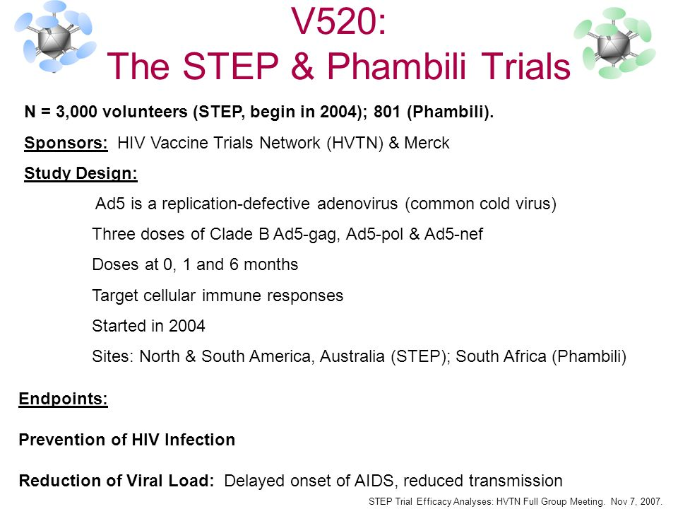 Endpoints: Prevention of HIV Infection Reduction of Viral Load: Delayed onset of AIDS, reduced transmission V520: The STEP & Phambili Trials N = 3,000 volunteers (STEP, begin in 2004); 801 (Phambili).