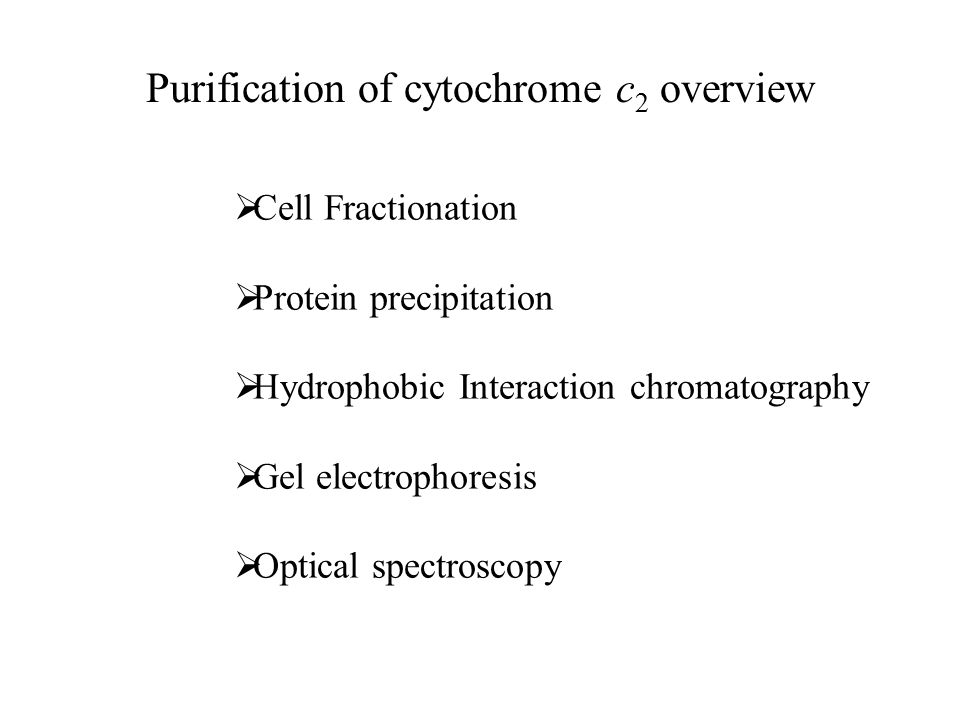 Purification of cytochrome c 2 overview  Cell Fractionation  Protein precipitation  Hydrophobic Interaction chromatography  Gel electrophoresis  Optical spectroscopy