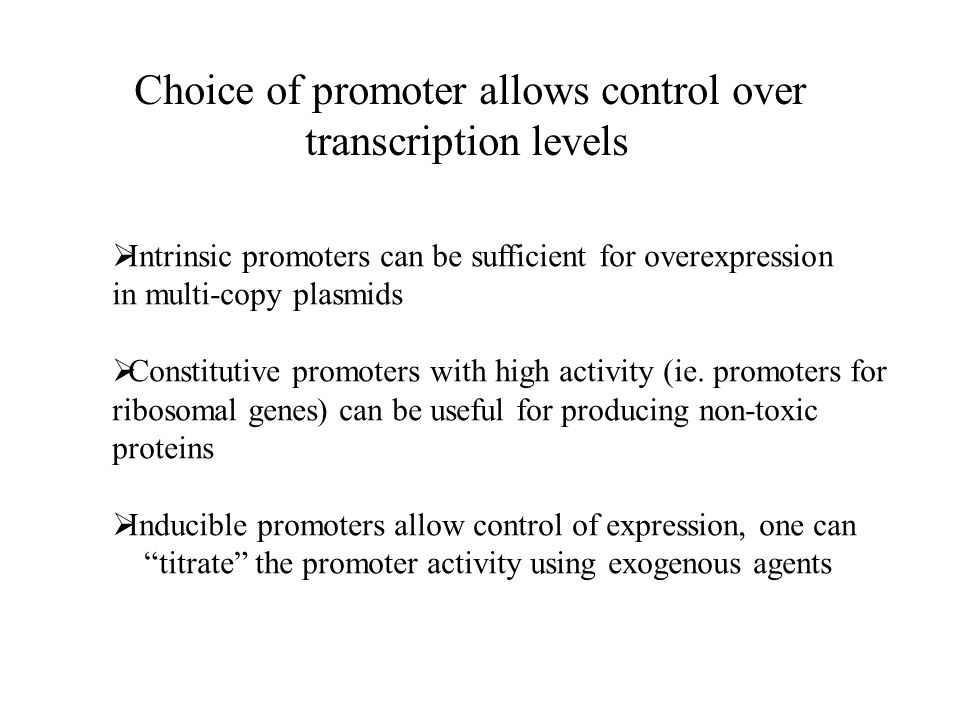 Choice of promoter allows control over transcription levels  Intrinsic promoters can be sufficient for overexpression in multi-copy plasmids  Constitutive promoters with high activity (ie.
