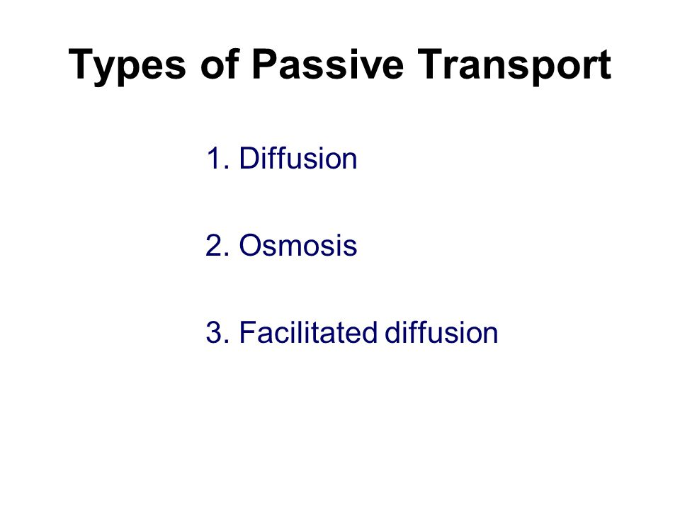 Types of Passive Transport 1. Diffusion 2. Osmosis 3. Facilitated diffusion