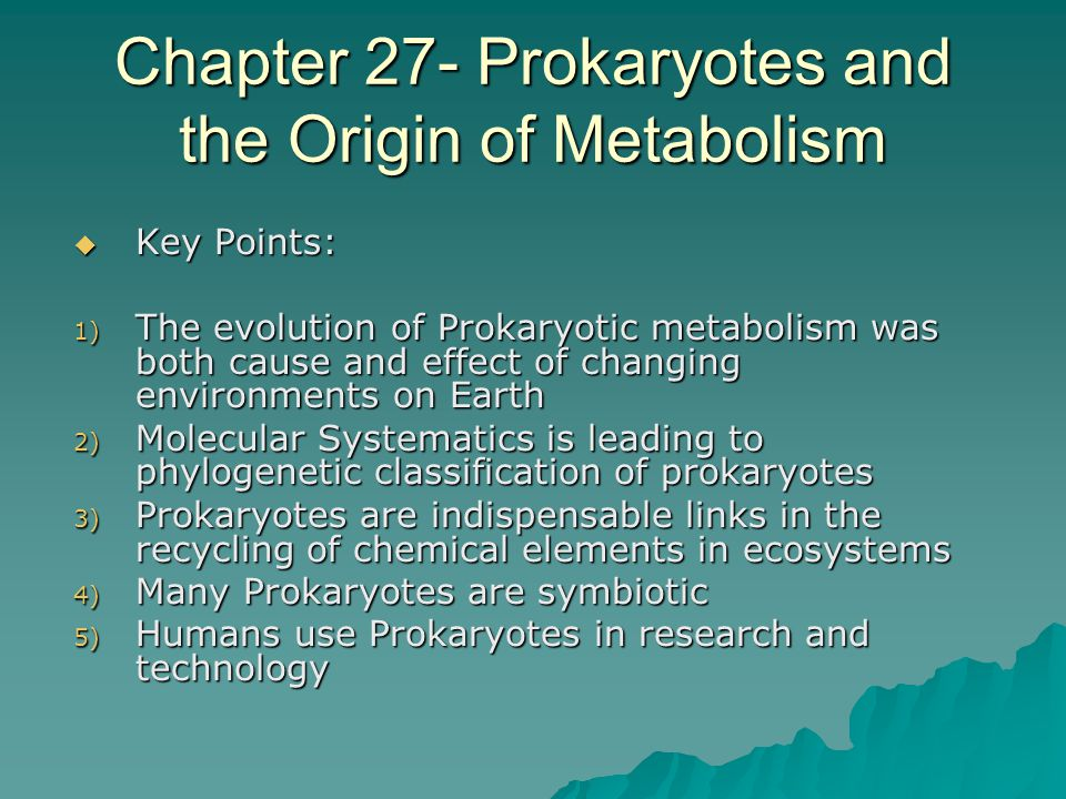 Evolving metabolism is a cause and effect of changing environments  Nutrition and Metabolic Pathways evolved before Prokaryotes  Met with constantly changing physical and biological environments  The evolved metabolic characteristics, in response to the change, in turn effects the environment.