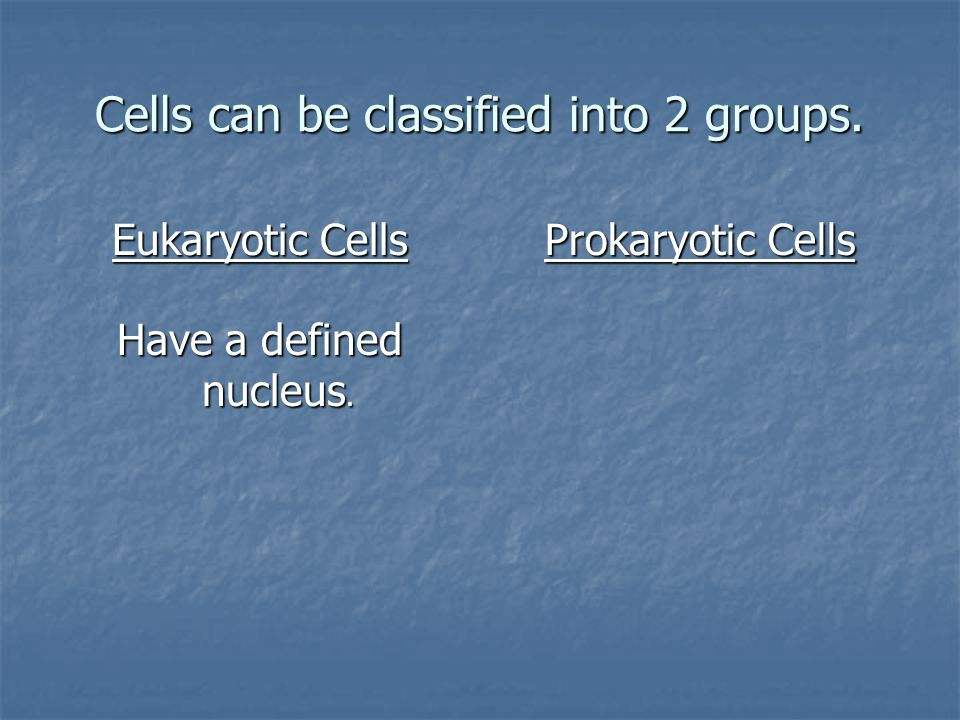 Cells can be classified into 2 groups. Eukaryotic Cells Have a defined nucleus. Prokaryotic Cells