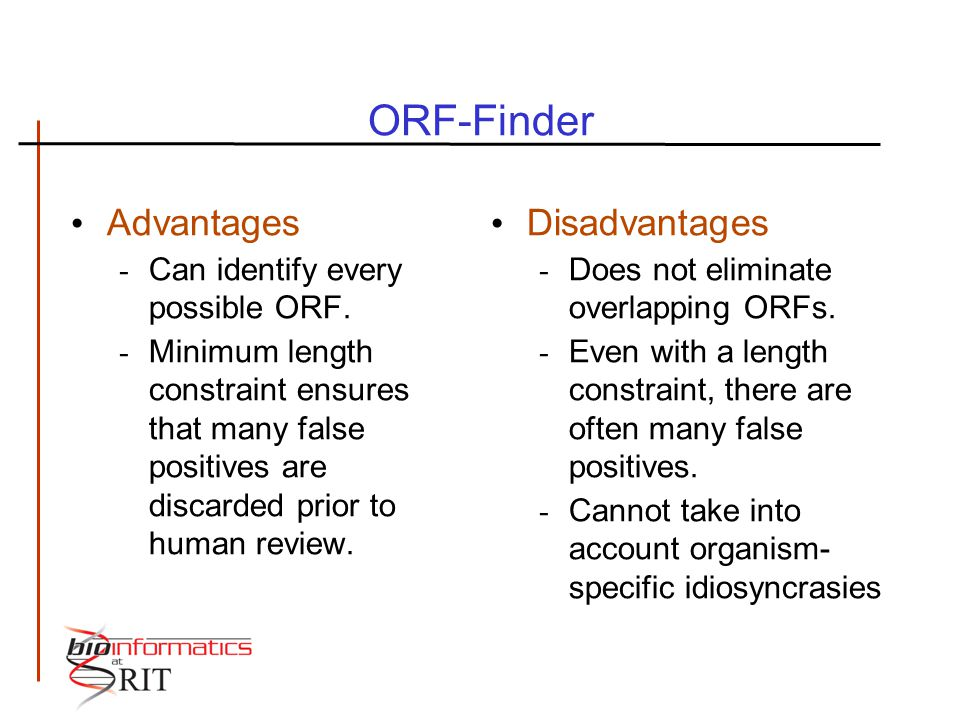 ORF-Finder Advantages - Can identify every possible ORF. - Minimum length constraint ensures that many false positives are discarded prior to human re