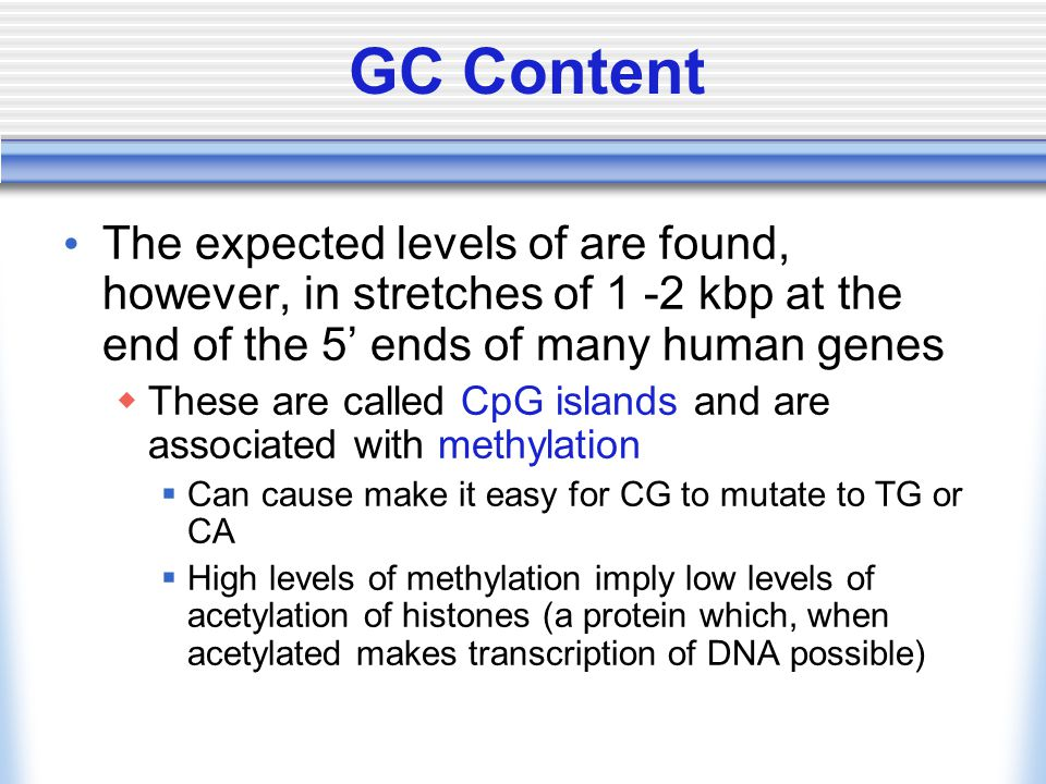 GC Content The expected levels of are found, however, in stretches of 1 -2 kbp at the end of the 5' ends of many human genes  These are called CpG is
