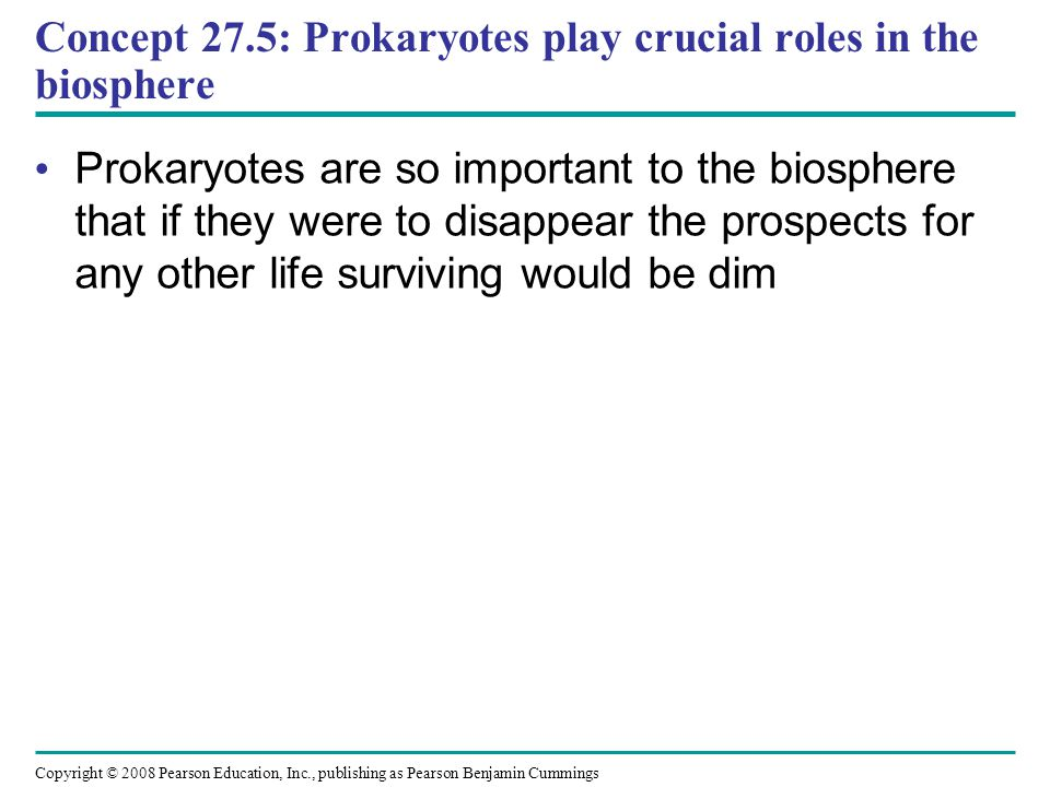 Copyright © 2008 Pearson Education, Inc., publishing as Pearson Benjamin Cummings Concept 27.5: Prokaryotes play crucial roles in the biosphere Prokar