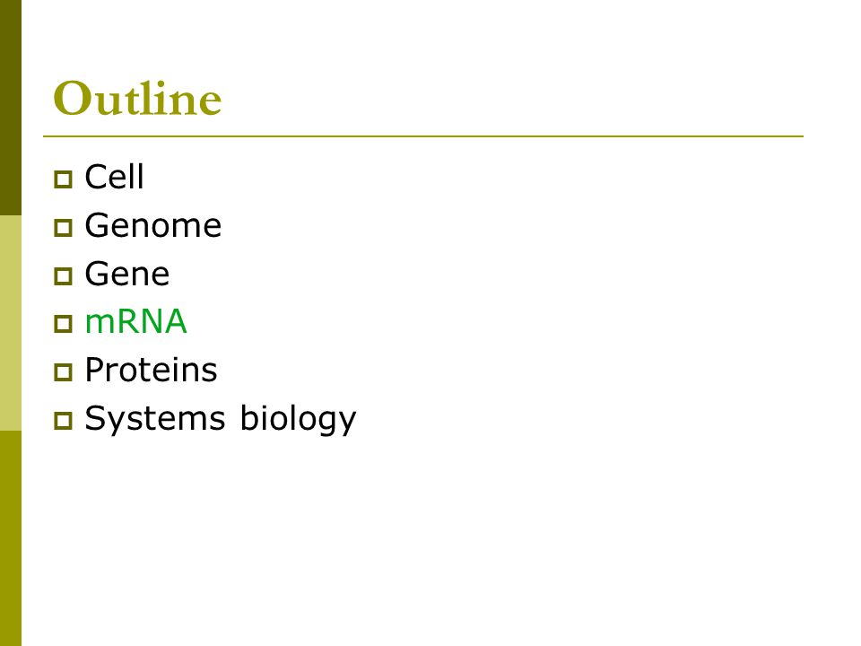 Outline  Cell  Genome  Gene  mRNA  Proteins  Systems biology