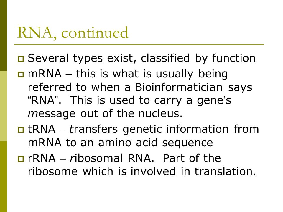 RNA, continued  Several types exist, classified by function  mRNA – this is what is usually being referred to when a Bioinformatician says RNA .