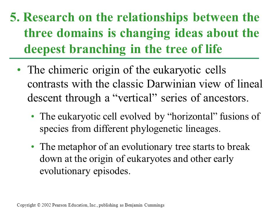 "The chimeric origin of the eukaryotic cells contrasts with the classic Darwinian view of lineal descent through a ""vertical"" series of ancestors. The"