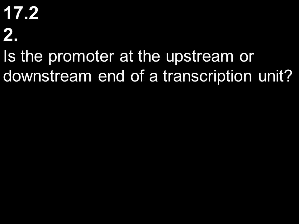 17.2 2. Is the promoter at the upstream or downstream end of a transcription unit?