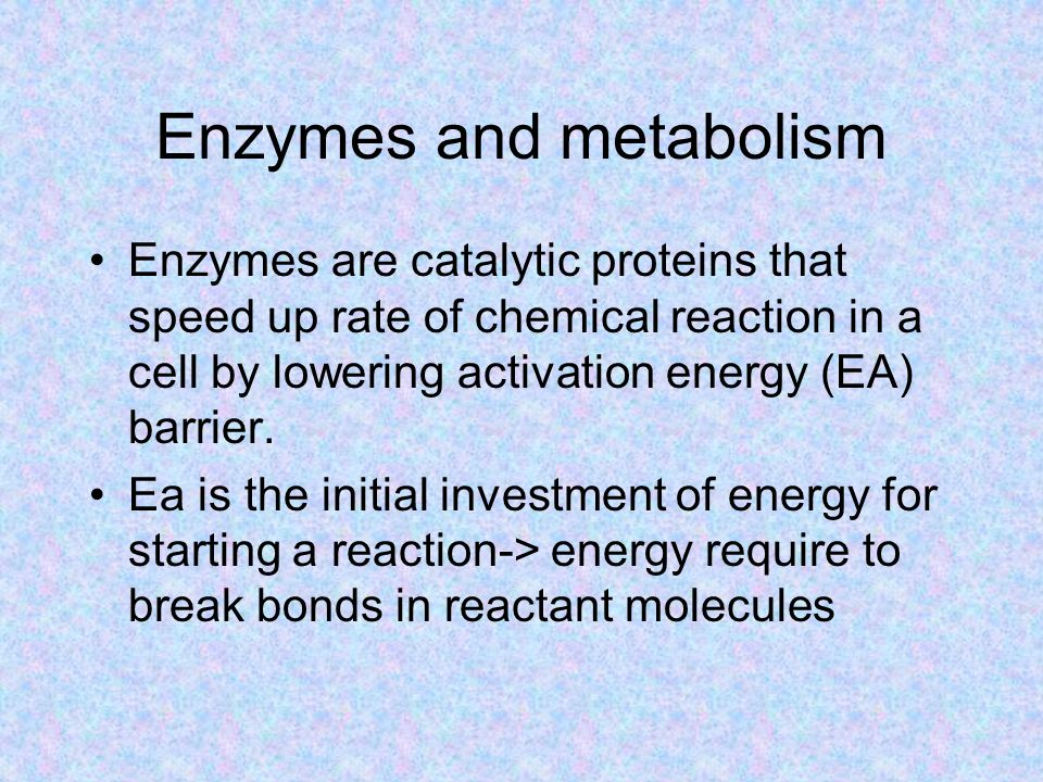 Enzymes and metabolism Enzymes are catalytic proteins that speed up rate of chemical reaction in a cell by lowering activation energy (EA) barrier.