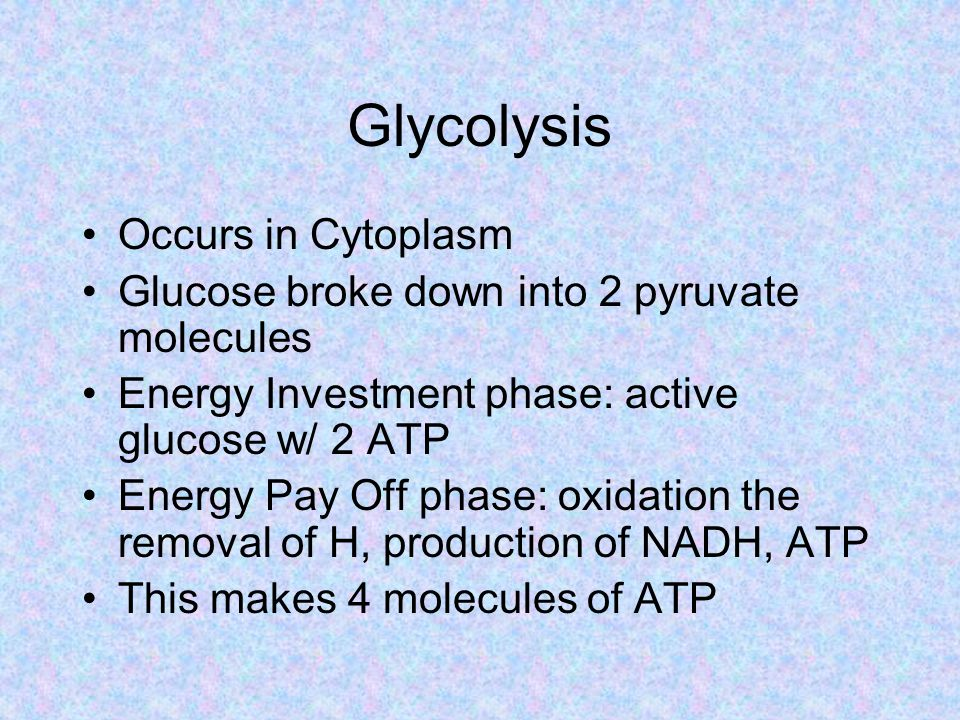 Glycolysis Occurs in Cytoplasm Glucose broke down into 2 pyruvate molecules Energy Investment phase: active glucose w/ 2 ATP Energy Pay Off phase: oxidation the removal of H, production of NADH, ATP This makes 4 molecules of ATP