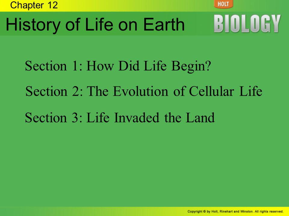 Chapter 12 History of Life on Earth Section 1: How Did Life Begin? Section 2: The Evolution of Cellular Life Section 3: Life Invaded the Land