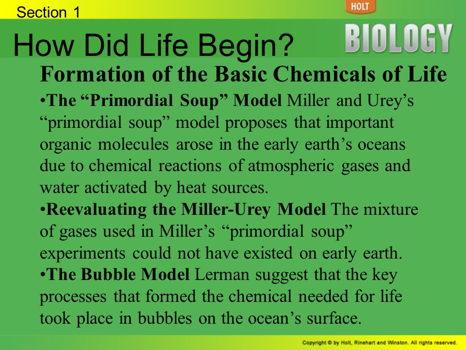 """Section 1 How Did Life Begin? Formation of the Basic Chemicals of Life The """"Primordial Soup"""" Model Miller and Urey's """"primordial soup"""" model proposes"""