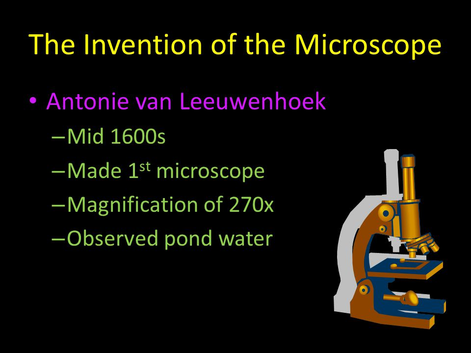 The Invention of the Microscope Antonie van Leeuwenhoek – Mid 1600s – Made 1 st microscope – Magnification of 270x – Observed pond water