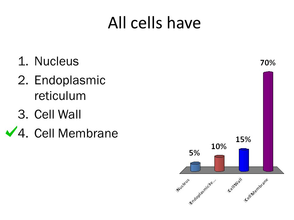 All cells have 1.Nucleus 2.Endoplasmic reticulum 3.Cell Wall 4.Cell Membrane