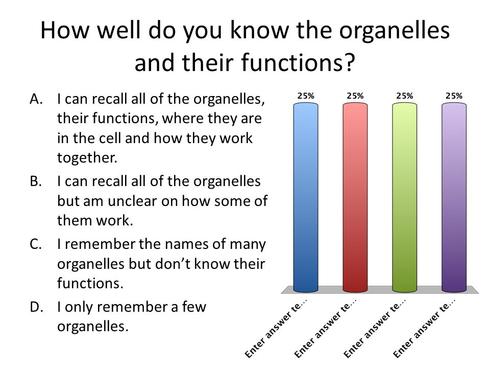 How well do you know the organelles and their functions? A.I can recall all of the organelles, their functions, where they are in the cell and how the