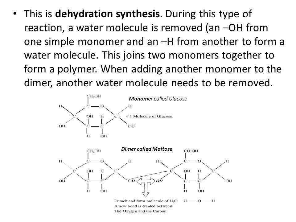 This is dehydration synthesis. During this type of reaction, a water molecule is removed (an –OH from one simple monomer and an –H from another to for