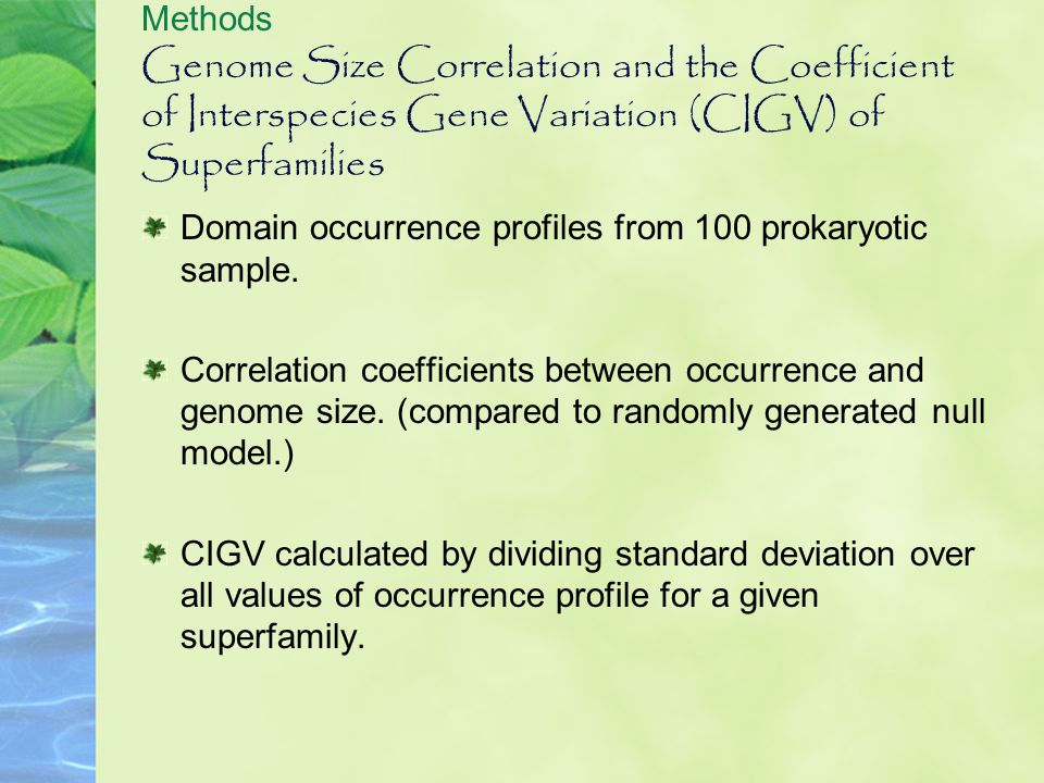 Genome Size Correlation and the Coefficient of Interspecies Gene Variation (CIGV) of Superfamilies Domain occurrence profiles from 100 prokaryotic sam