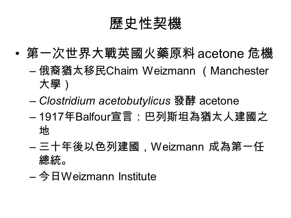 歷史性契機 第一次世界大戰英國火藥原料 acetone 危機 – 俄裔猶太移民 Chaim Weizmann ( Manchester 大學) –Clostridium acetobutylicus 發酵 acetone –1917 年 Balfour 宣言:巴列斯坦為猶太人建國之 地 – 三十年後以色列建國, Weizmann 成為第一任 總統。 – 今日 Weizmann Institute
