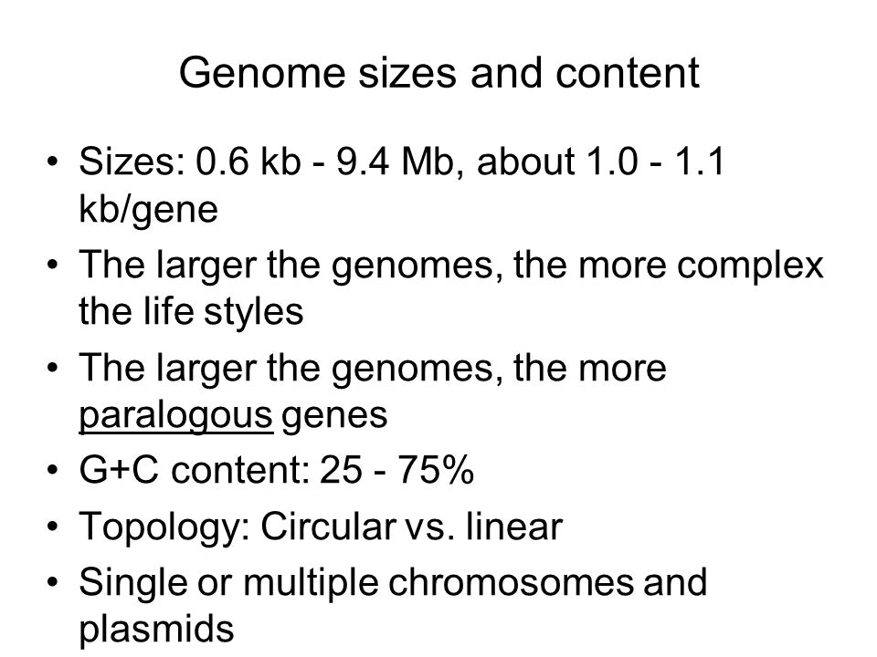 Genome sizes and content Sizes: 0.6 kb - 9.4 Mb, about 1.0 - 1.1 kb/gene The larger the genomes, the more complex the life styles The larger the genomes, the more paralogous genes G+C content: 25 - 75% Topology: Circular vs.