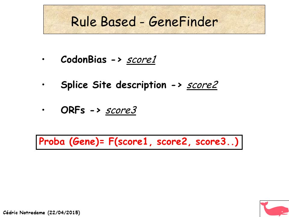 Cédric Notredame (22/04/2015) Rule Based - GeneFinder CodonBias -> score1 Splice Site description -> score2 ORFs -> score3 Proba (Gene)= F(score1, score2, score3..)