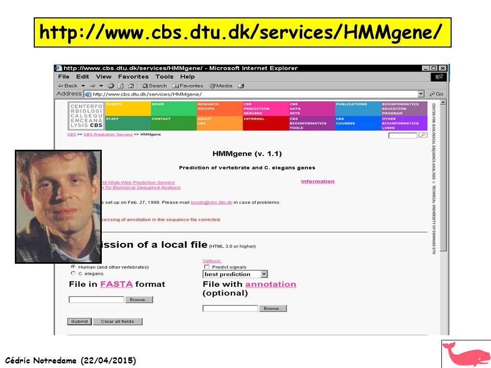 Cédric Notredame (22/04/2015) http://www.cbs.dtu.dk/services/HMMgene/