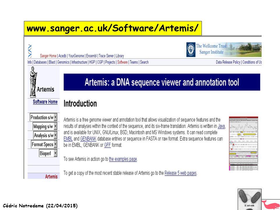 Cédric Notredame (22/04/2015) www.sanger.ac.uk/Software/Artemis/
