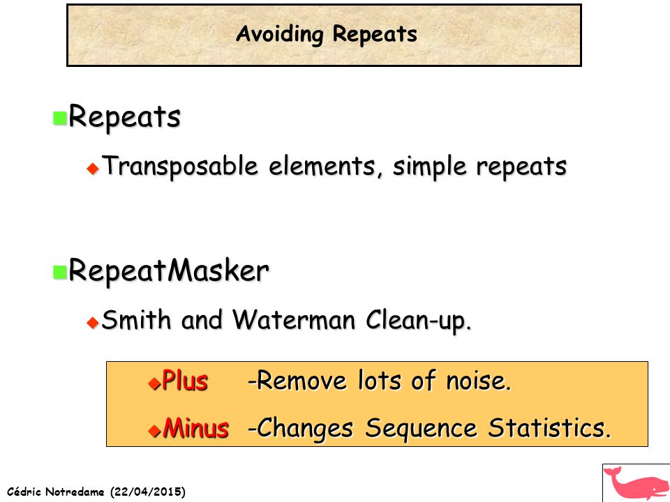 Cédric Notredame (22/04/2015) Repeats Repeats  Transposable elements, simple repeats RepeatMasker RepeatMasker  Smith and Waterman Clean-up.