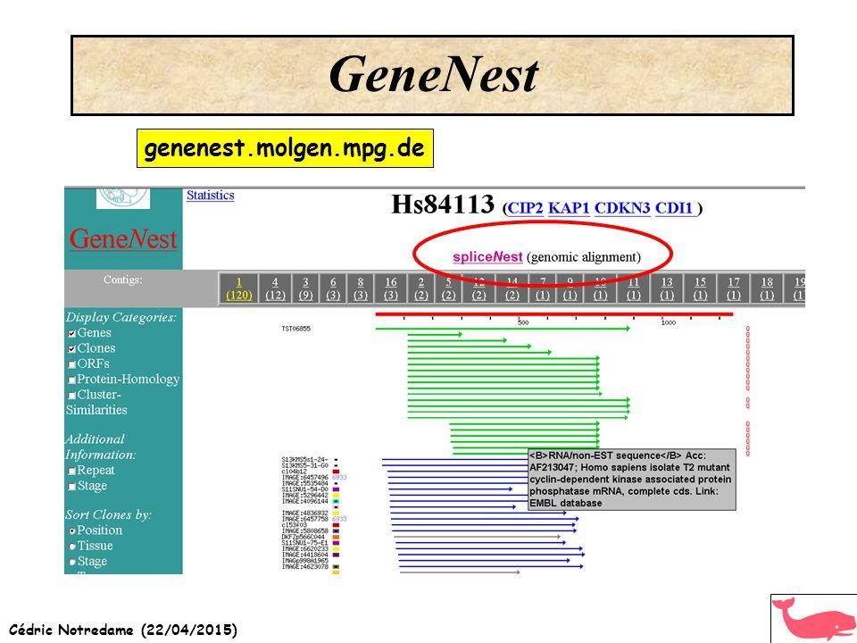 Cédric Notredame (22/04/2015) GeneNest genenest.molgen.mpg.de
