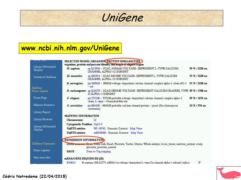 Cédric Notredame (22/04/2015) UniGene www.ncbi.nih.nlm.gov/UniGene