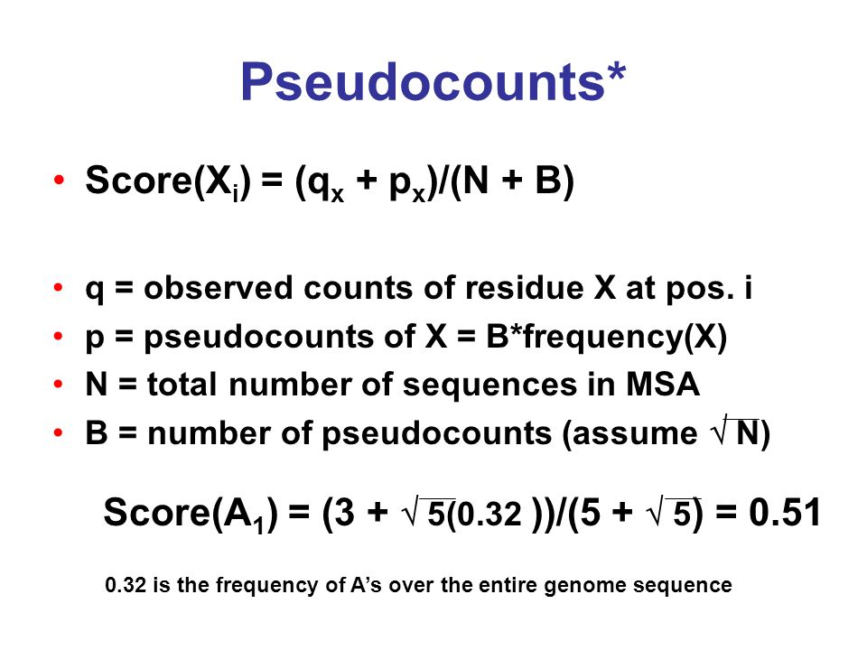 Pseudocounts* Score(X i ) = (q x + p x )/(N + B) q = observed counts of residue X at pos.