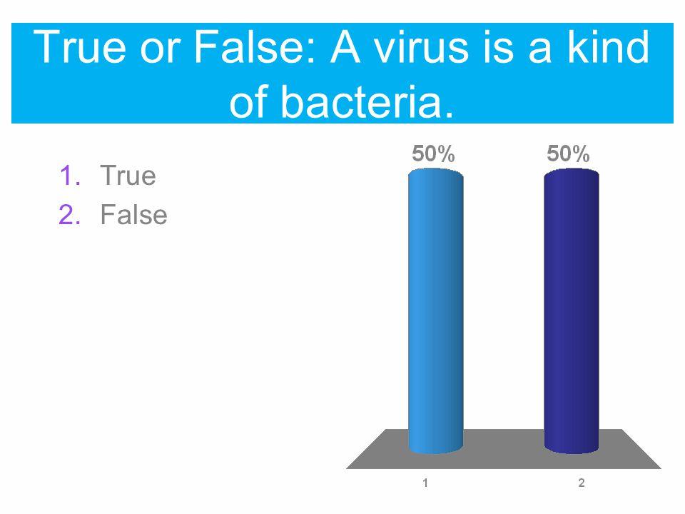 True or False: A virus is a kind of bacteria. 1.True 2.False