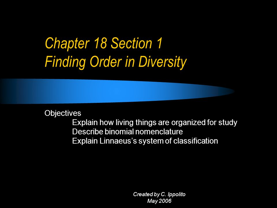 Created by C. Ippolito May 2006 Chapter 18 Classification