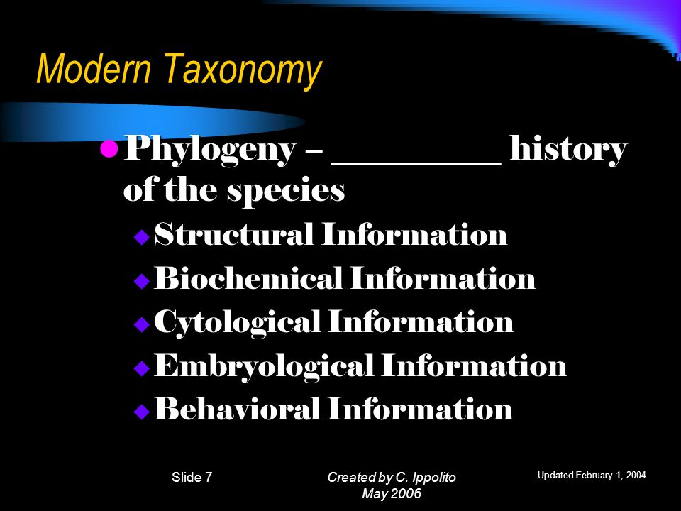 Created by C. Ippolito May 2006 Linnaeus's System of Classification Taxon  a group or level of organization Linnaeus's system uses SEVEN (7) taxonomi