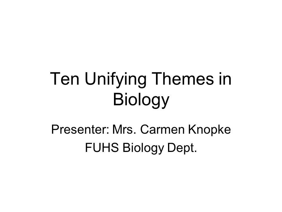 Ten Unifying Themes in Biology Presenter: Mrs. Carmen Knopke FUHS Biology Dept.