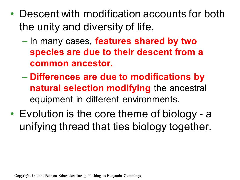 Descent with modification accounts for both the unity and diversity of life.
