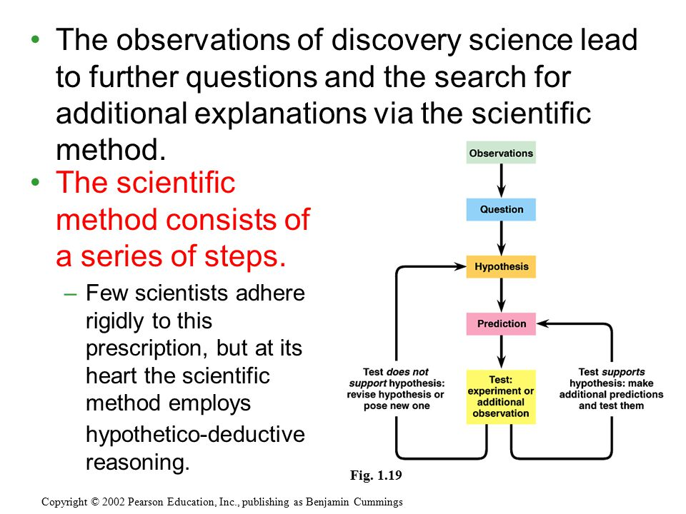 The observations of discovery science lead to further questions and the search for additional explanations via the scientific method. Copyright © 2002