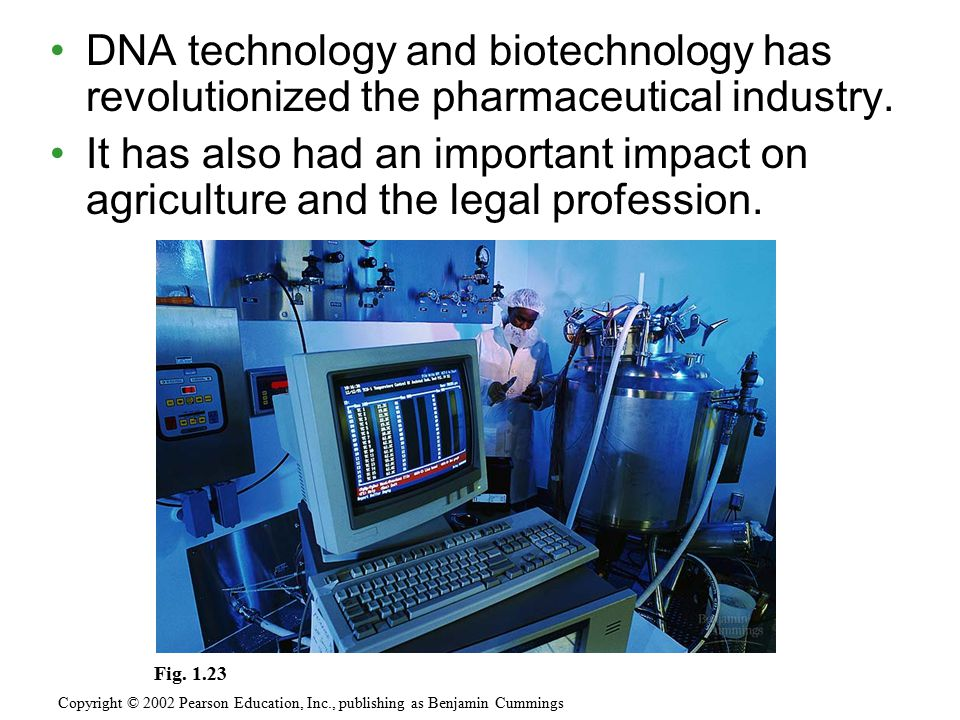 DNA technology and biotechnology has revolutionized the pharmaceutical industry. It has also had an important impact on agriculture and the legal prof