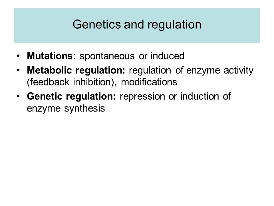 Genetics and regulation Mutations: spontaneous or induced Metabolic regulation: regulation of enzyme activity (feedback inhibition), modifications Genetic regulation: repression or induction of enzyme synthesis