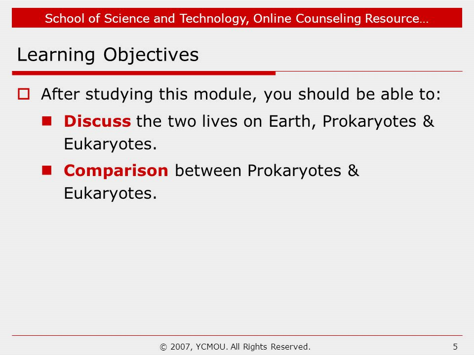 School of Science and Technology, Online Counseling Resource… © 2007, YCMOU. All Rights Reserved.5 Learning Objectives  After studying this module, y