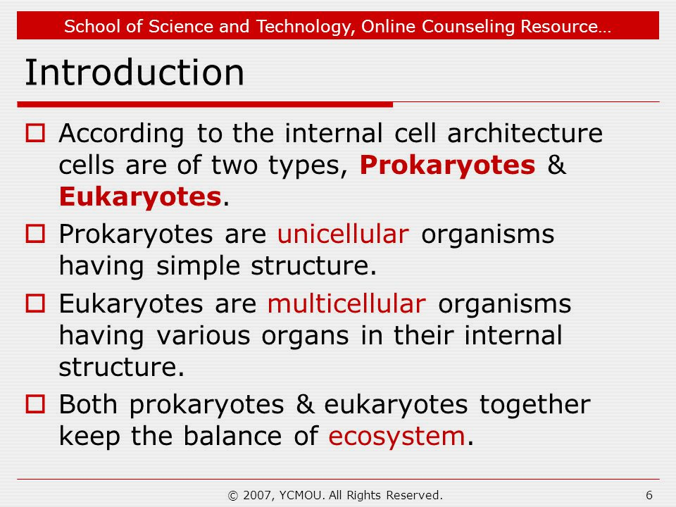 School of Science and Technology, Online Counseling Resource… Introduction  According to the internal cell architecture cells are of two types, Prokaryotes & Eukaryotes.