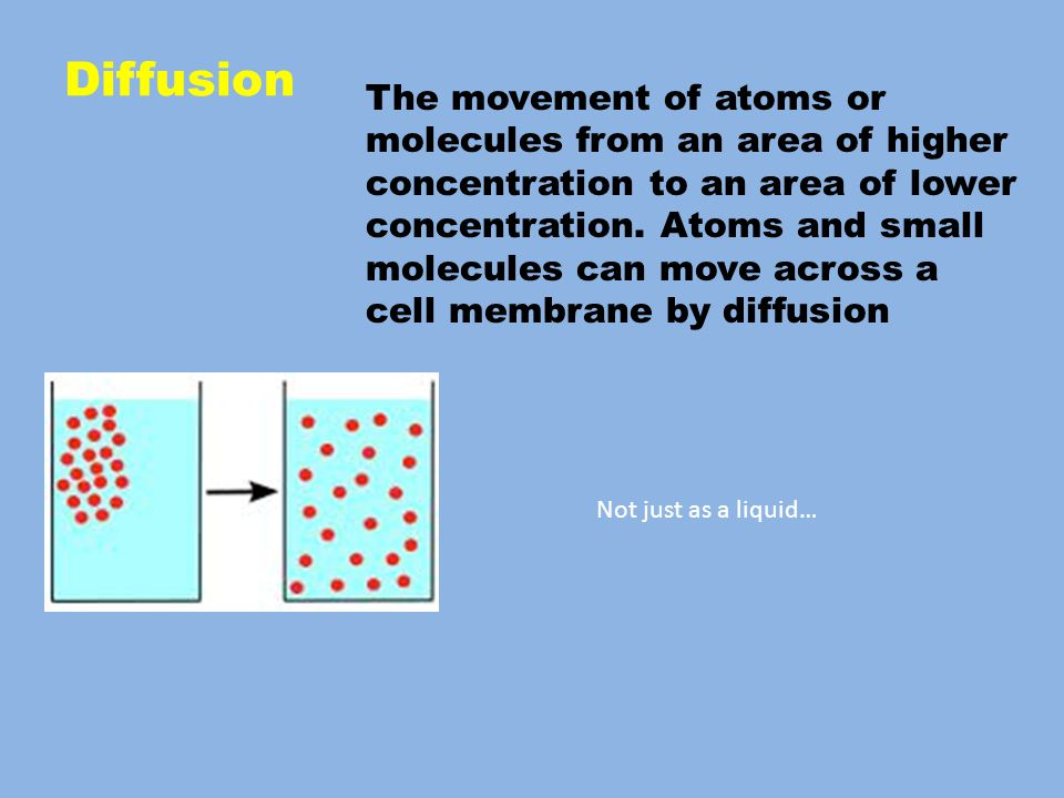 The movement of atoms or molecules from an area of higher concentration to an area of lower concentration.