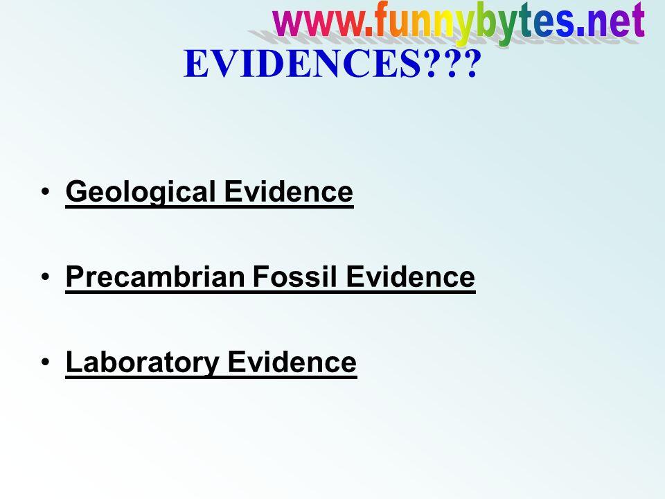 EVIDENCES??? Geological Evidence Precambrian Fossil Evidence Laboratory Evidence