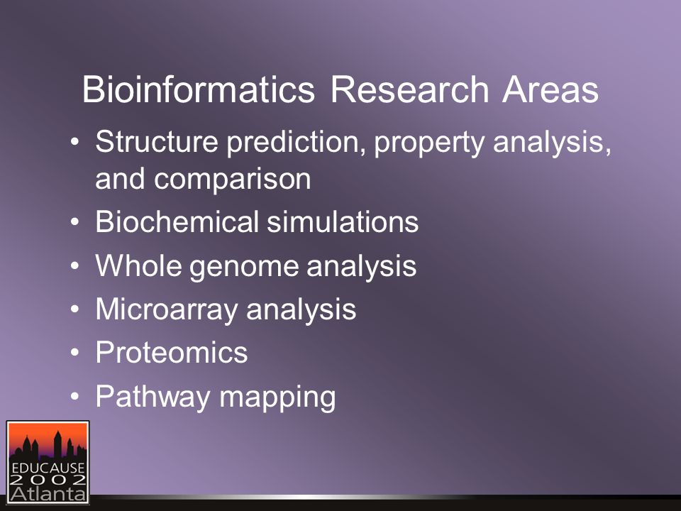 Bioinformatics Research Areas Structure prediction, property analysis, and comparison Biochemical simulations Whole genome analysis Microarray analysis Proteomics Pathway mapping