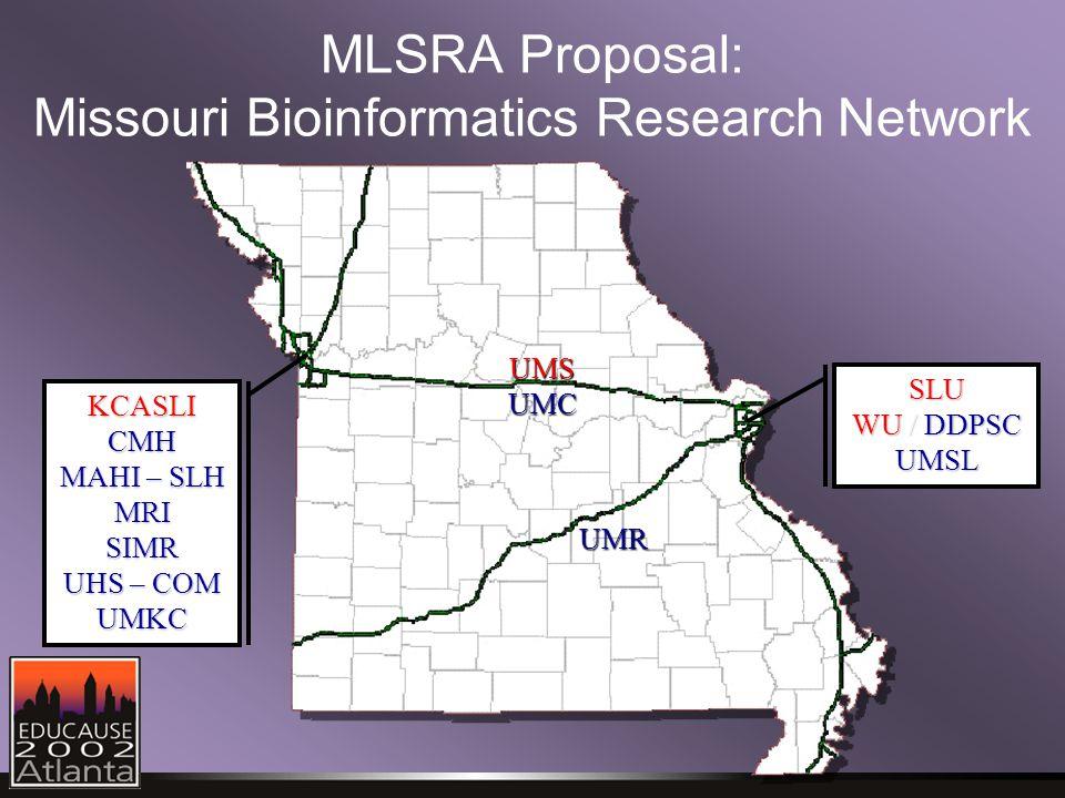 MLSRA Proposal: Missouri Bioinformatics Research Network UMSUMC UMR SLU WU / DDPSC UMSL KCASLICMH MAHI – SLH MRISIMR UHS–COM UHS – COMUMKC