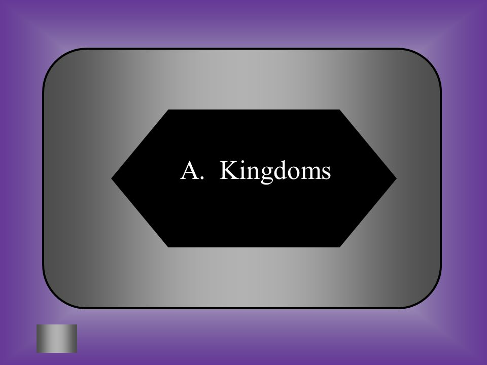 A:B: Kingdoms Species #5 * Archaebacteria (Prokaryotic) *Eubacteria *Protista (Eukaryotic) *Fungi *Plantae *Animalia These are the six _________ of li