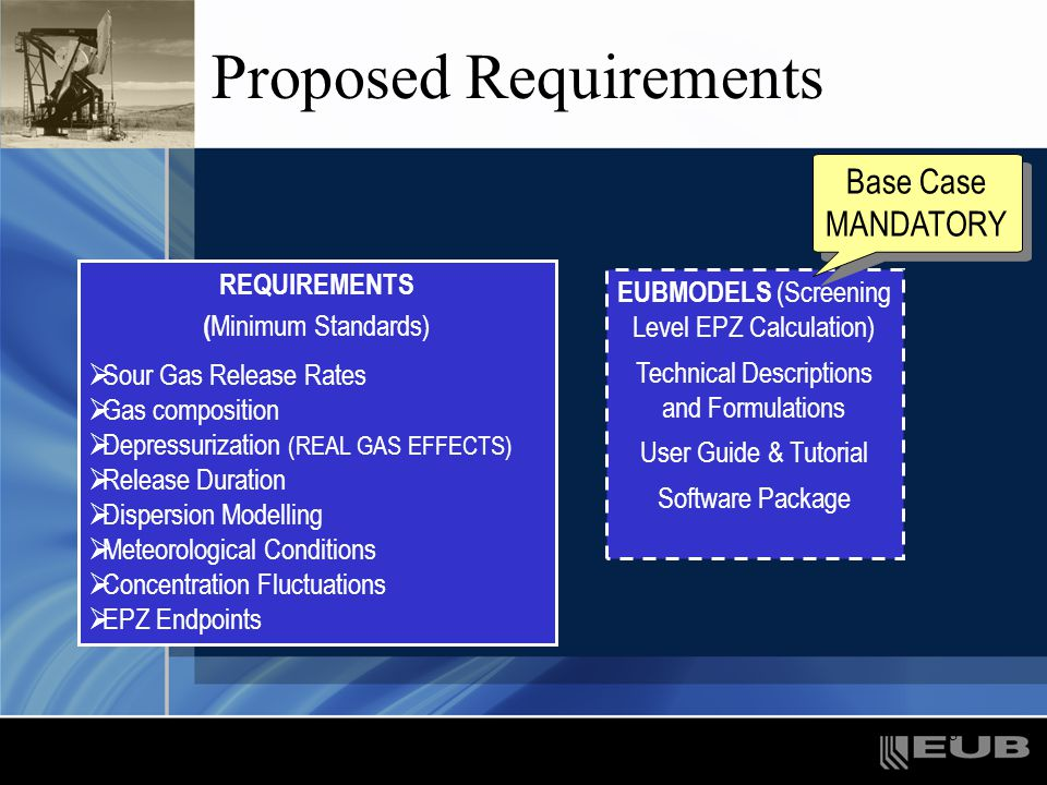 9 Release Rates For wells maximum release rates required as described in Guide 56 For pipelines mass release rate profile from a guillotine break must be calculated using the maximum licenced pressure –account for the emergency shutdown valve (ESD) trip set points –the distance between ESD valves –mass of gas in adjacent pipeline segments that escapes before the valves close