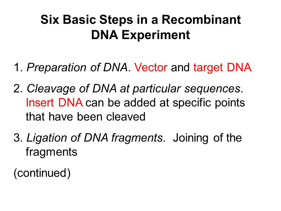 Six Basic Steps in a Recombinant DNA Experiment 1. Preparation of DNA. Vector and target DNA 2. Cleavage of DNA at particular sequences. Insert DNA ca